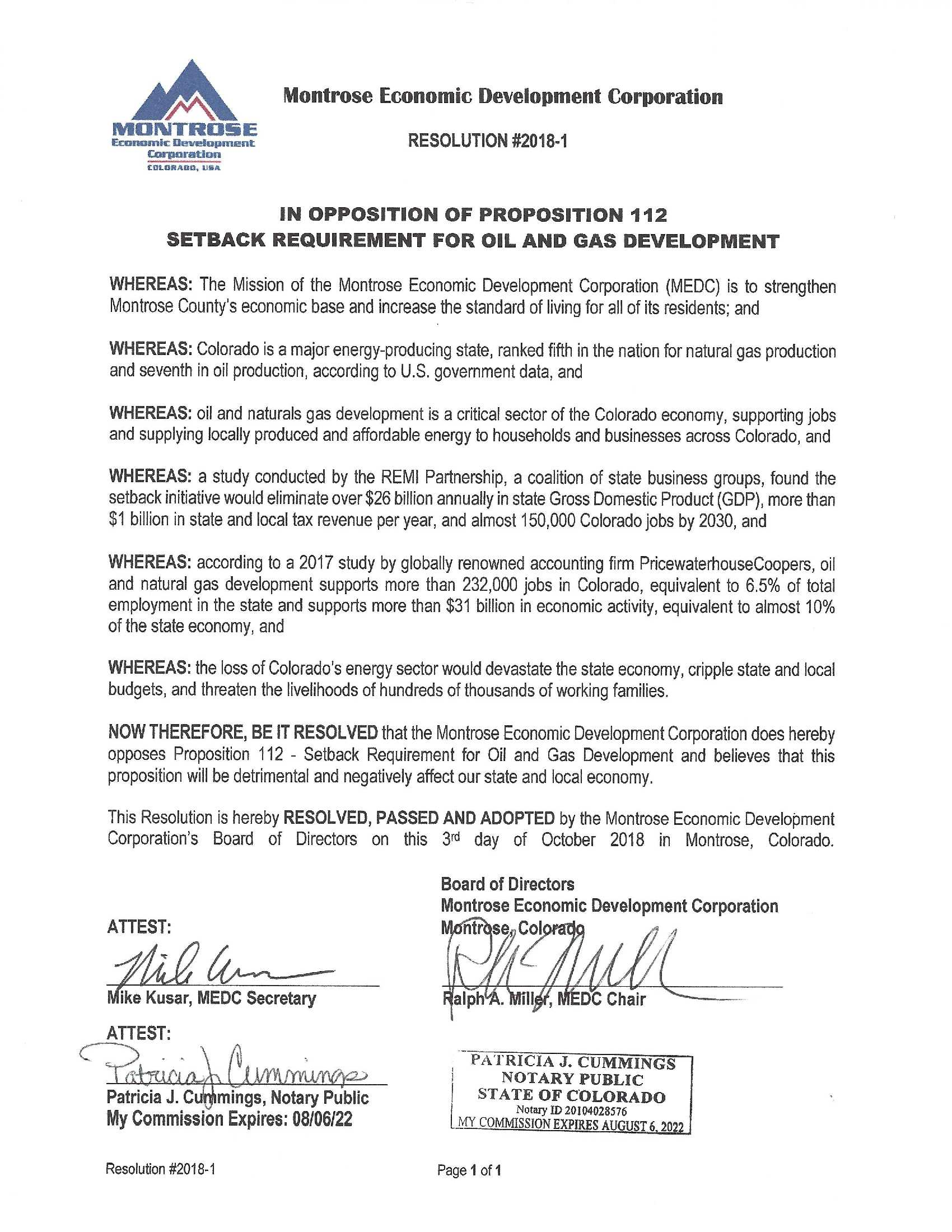 Resolution 2018-1, In Opposition to Proposition 112 - Final