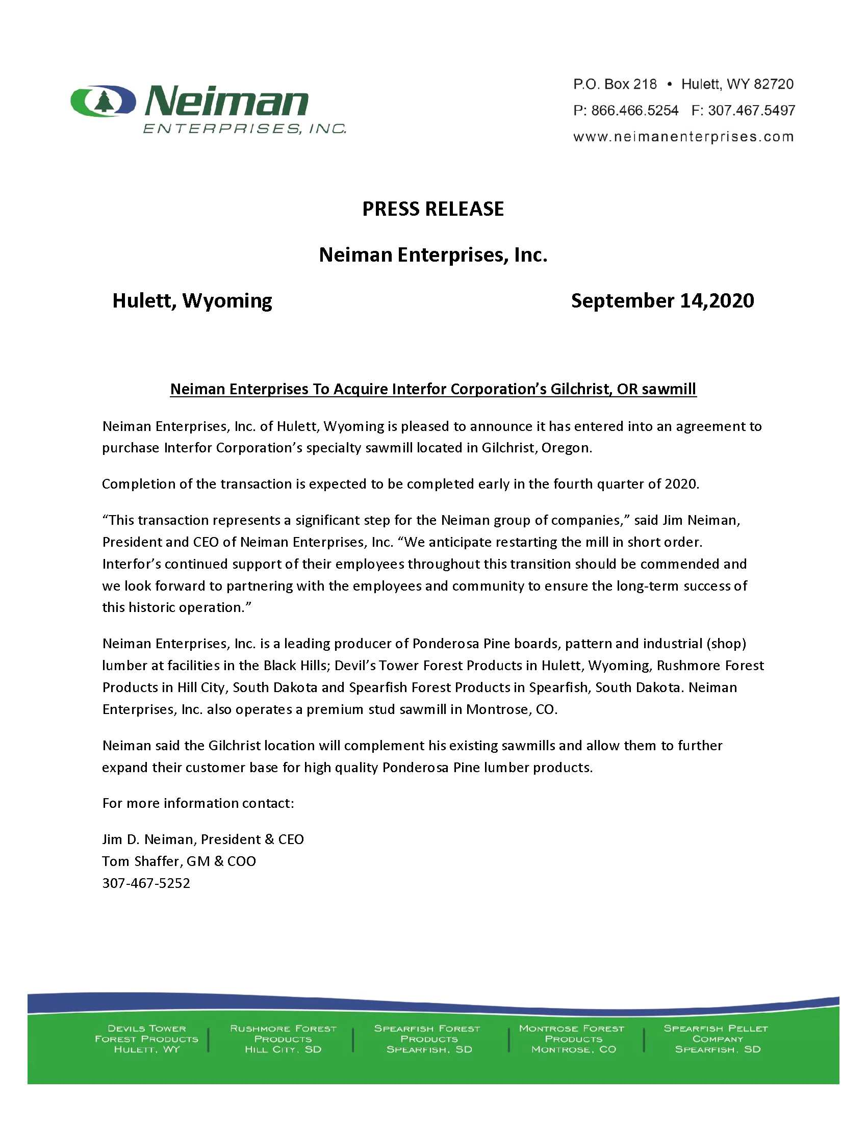 Neiman Enterprises-Gilchrist Press Release 9-14-20